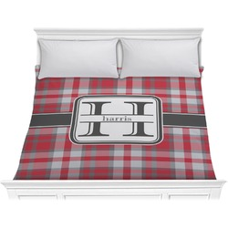 Red & Gray Plaid Comforter - King (Personalized)
