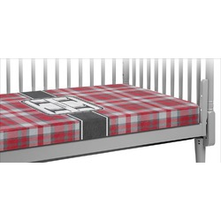 Red & Gray Plaid Crib Fitted Sheet (Personalized)