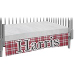 Red & Gray Plaid Crib Skirt (Personalized)