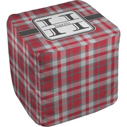 """Red & Gray Plaid Cube Pouf Ottoman - 18"""" (Personalized)"""