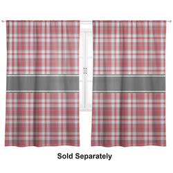 "Red & Gray Plaid Curtains - 20""x84"" Panels - Lined (2 Panels Per Set) (Personalized)"
