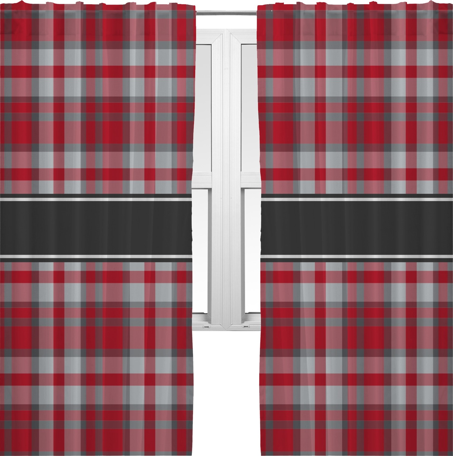 Red Gray Plaid Curtain 112x80