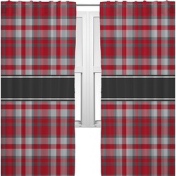 Red & Gray Plaid Curtains (2 Panels Per Set) (Personalized)