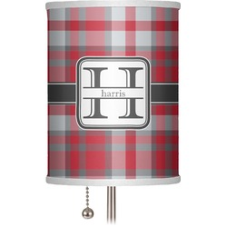 """Red & Gray Plaid 7"""" Drum Lamp Shade (Personalized)"""