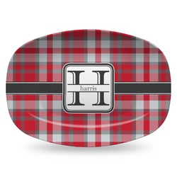 Red & Gray Plaid Plastic Platter - Microwave & Oven Safe Composite Polymer (Personalized)