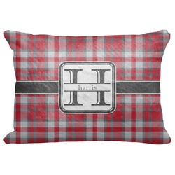 """Red & Gray Plaid Decorative Baby Pillowcase - 16""""x12"""" (Personalized)"""