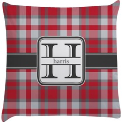 Red & Gray Plaid Decorative Pillow Case (Personalized)