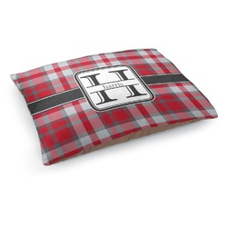 Red & Gray Plaid Dog Pillow Bed (Personalized)