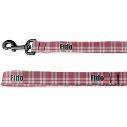 Red & Gray Plaid Deluxe Dog Leash (Personalized)