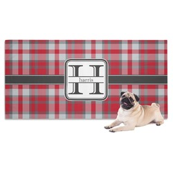 Red & Gray Plaid Pet Towel (Personalized)