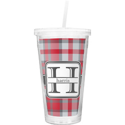 Red & Gray Plaid Double Wall Tumbler with Straw (Personalized)