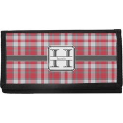 Red & Gray Plaid Canvas Checkbook Cover (Personalized)
