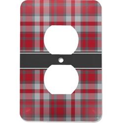 Red & Gray Plaid Electric Outlet Plate (Personalized)