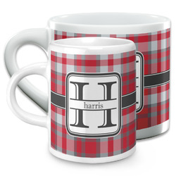 Red & Gray Plaid Espresso Cups (Personalized)