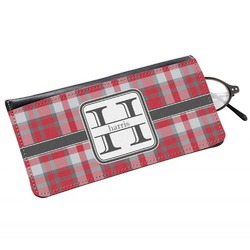 Red & Gray Plaid Genuine Leather Eyeglass Case (Personalized)