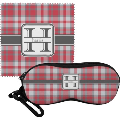 Red & Gray Plaid Eyeglass Case & Cloth (Personalized)