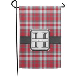 Red & Gray Plaid Garden Flag - Single or Double Sided (Personalized)