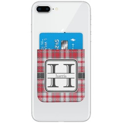 Red & Gray Plaid Genuine Leather Adhesive Phone Wallet (Personalized)