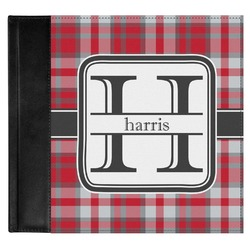 Red & Gray Plaid Genuine Leather Baby Memory Book (Personalized)