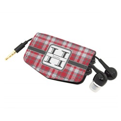 Red & Gray Plaid Genuine Leather Cord Wrap (Personalized)