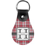 Red & Gray Plaid Genuine Leather  Keychains (Personalized)