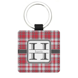 Red & Gray Plaid Genuine Leather Rectangular Keychain (Personalized)