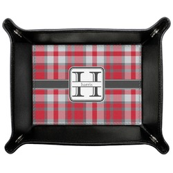 Red & Gray Plaid Genuine Leather Valet Tray (Personalized)