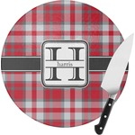Red & Gray Plaid Round Glass Cutting Board (Personalized)