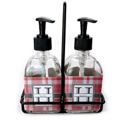 Red & Gray Plaid Soap & Lotion Dispenser Set (Glass) (Personalized)