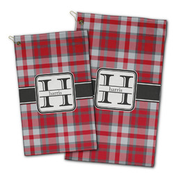 Red & Gray Plaid Golf Towel - Full Print w/ Name and Initial
