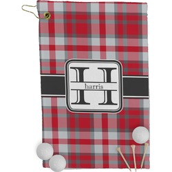 Red & Gray Plaid Golf Towel - Full Print (Personalized)