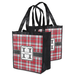 Red & Gray Plaid Grocery Bag (Personalized)