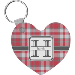 Red & Gray Plaid Heart Keychain (Personalized)