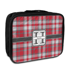 Red & Gray Plaid Insulated Lunch Bag (Personalized)