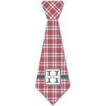 Red & Gray Plaid Iron On Tie - 4 Sizes w/ Name and Initial