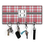 Red & Gray Plaid Key Hanger w/ 4 Hooks (Personalized)