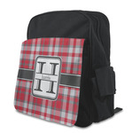 Red & Gray Plaid Kid's Backpack with Customizable Flap (Personalized)
