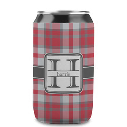 Red & Gray Plaid Can Sleeve (12 oz) (Personalized)