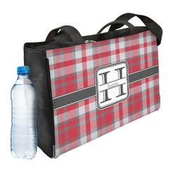 Red & Gray Plaid Ladies Workout Bag (Personalized)