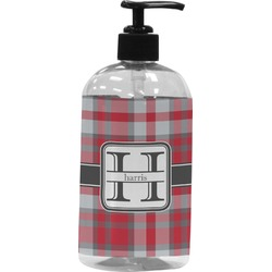 Red & Gray Plaid Plastic Soap / Lotion Dispenser (Personalized)