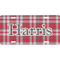 Red & Gray Plaid Front License Plate (Personalized)