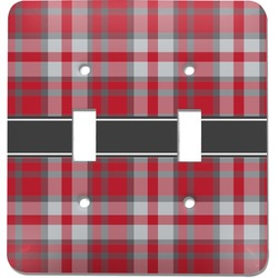 Red & Gray Plaid Light Switch Cover (2 Toggle Plate) (Personalized)