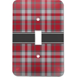 Red & Gray Plaid Light Switch Cover (Single Toggle) (Personalized)