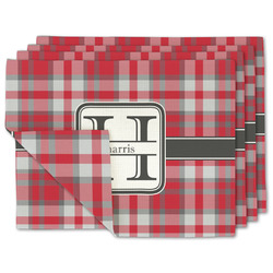 Red & Gray Plaid Linen Placemat w/ Name and Initial