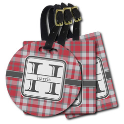 Red & Gray Plaid Plastic Luggage Tags (Personalized)