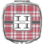 Red & Gray Plaid Compact Makeup Mirror (Personalized)