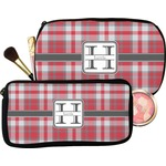 Red & Gray Plaid Makeup / Cosmetic Bag (Personalized)