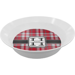 Red & Gray Plaid Melamine Bowl (Personalized)