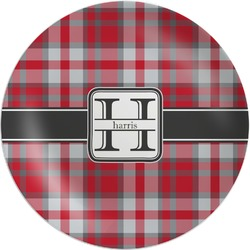 Red & Gray Plaid Melamine Plate (Personalized)
