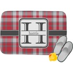 Red & Gray Plaid Memory Foam Bath Mat (Personalized)